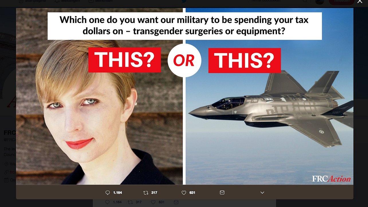 Christelijke organisatie misbruikt foto van Chelsea Manning in advertentie