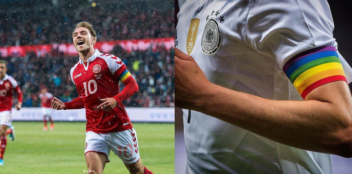 Ook Duitse en Deense voetbalclubs voetballen in regenboogkleuren