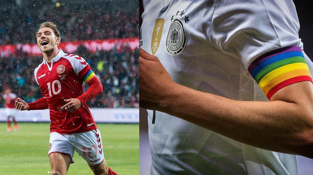 Deense, Duitse en Amerikaanse voetbalteams voetballen in regenboogkleuren