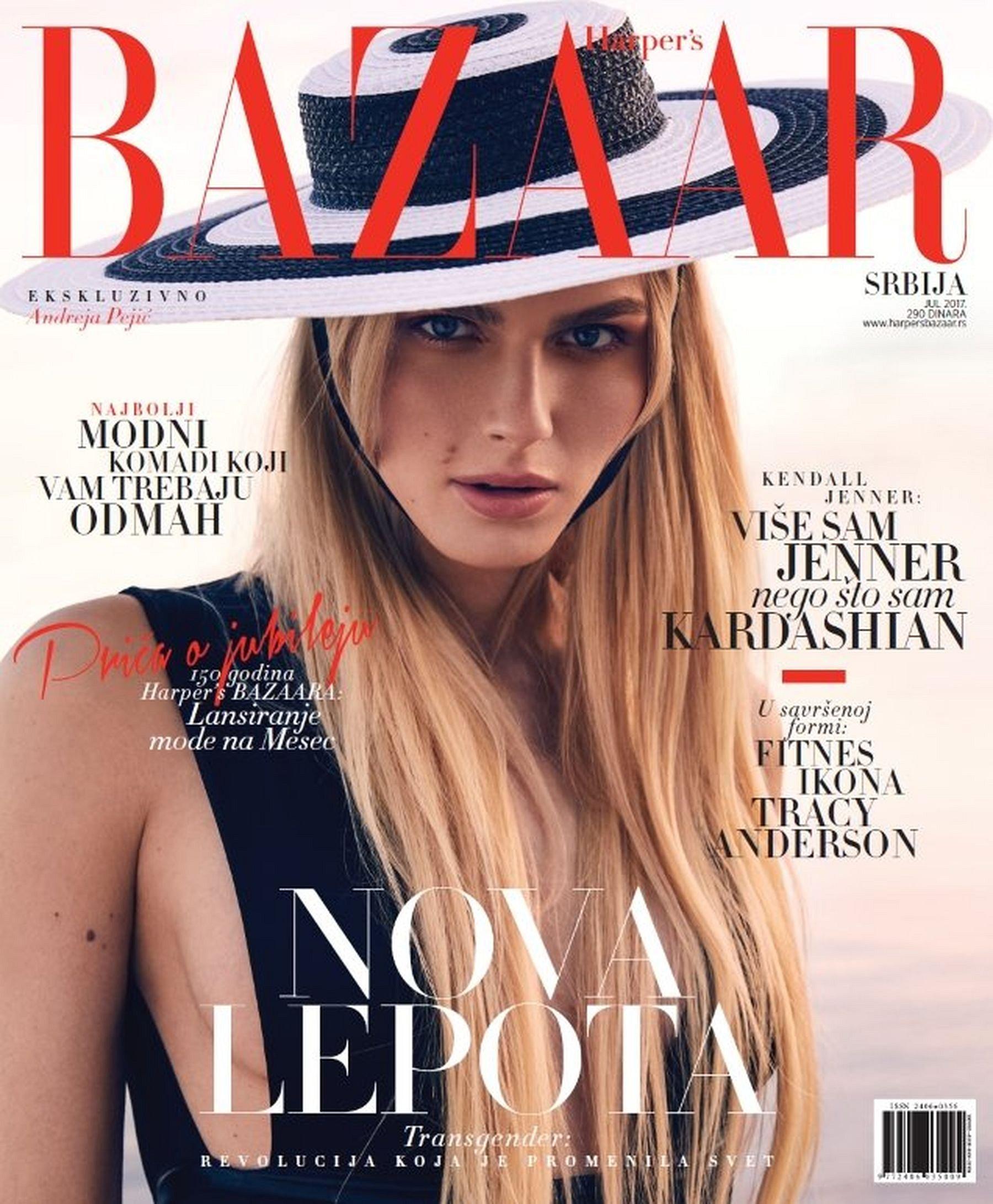 Transgender model op cover Servische Harper's Bazaar
