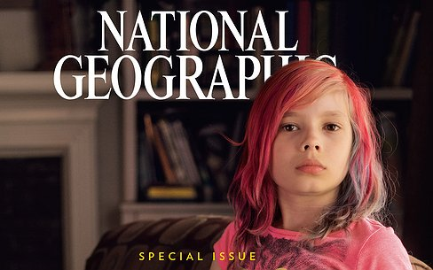 9-jarig transmeisje op cover National Geographic