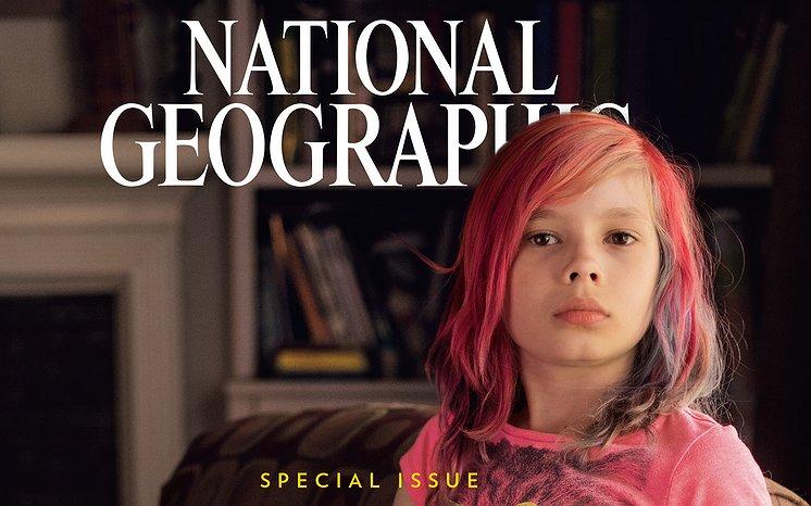 9-jarig transmeisje op cover National Geographic