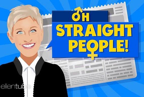 Ellen DeGeneres drijft de spot met hetero's