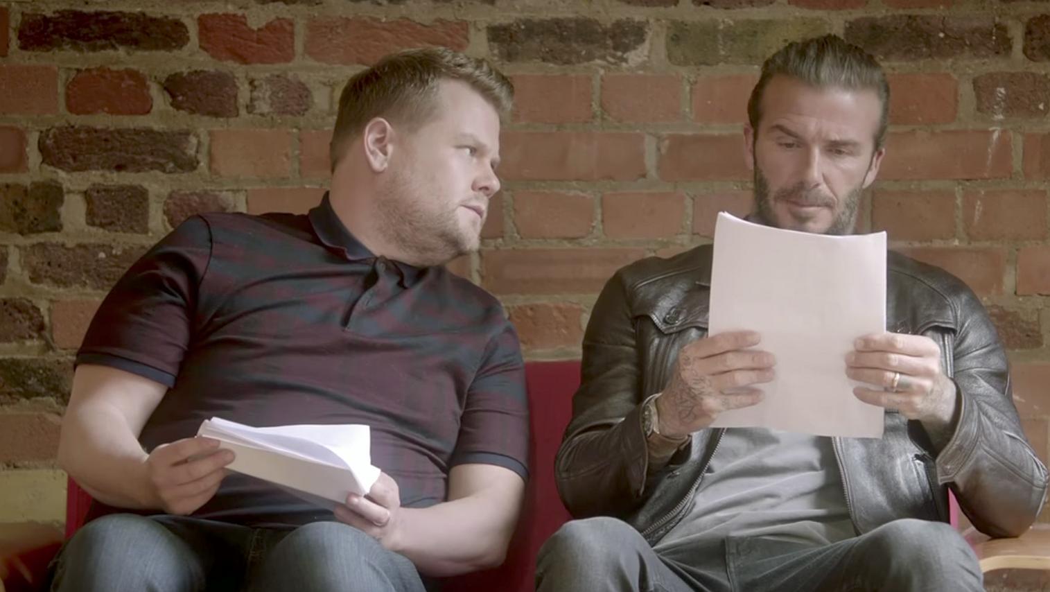 Hilarisch: David Beckham en James Corden proberen de nieuwe 007 te worden